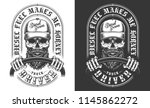 trucker emblem with skull in... | Shutterstock .eps vector #1145862272