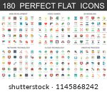 180 modern flat icons set of... | Shutterstock . vector #1145868242