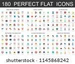 180 modern flat icons set of... | Shutterstock . vector #1145868242