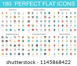 180 modern flat icon set of... | Shutterstock . vector #1145868422