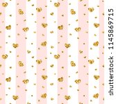 gold heart seamless pattern.... | Shutterstock .eps vector #1145869715