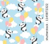 seamless panda pattern... | Shutterstock .eps vector #1145872322
