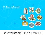 traveler's accessories.... | Shutterstock .eps vector #1145874218