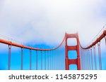 golden gate bridge on a... | Shutterstock . vector #1145875295