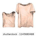 two t shirts lie next to one... | Shutterstock .eps vector #1145880488