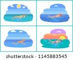 backstroke and butterfly style...   Shutterstock .eps vector #1145883545