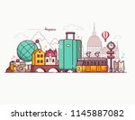 europe holidays tourism concept ... | Shutterstock .eps vector #1145887082