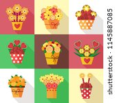 assorted colorful fruits and... | Shutterstock .eps vector #1145887085
