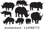rhino vector silhouettes | Shutterstock .eps vector #114588772