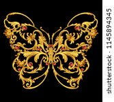 Stock photo golden jewelry butterfly 1145894345