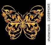 golden jewelry butterfly | Shutterstock . vector #1145894345