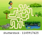 maze game of duck  wolf and... | Shutterstock .eps vector #1145917625