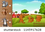 set of matching farm animal game | Shutterstock .eps vector #1145917628