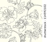 monochrome hand drawn floral...