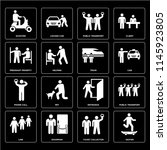 set of 16 icons such as skater  ...