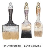 used paint brushes isolated on... | Shutterstock . vector #1145935268