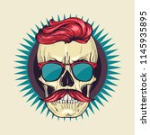 color angry skull with hairstyle | Shutterstock .eps vector #1145935895