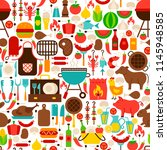 barbecue flat seamless pattern. ... | Shutterstock .eps vector #1145948585