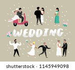 wedding people cartoons bride... | Shutterstock .eps vector #1145949098