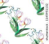 seamless pattern light tulips... | Shutterstock . vector #1145951132