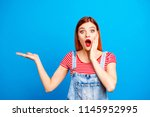 nice red straight haired vivid... | Shutterstock . vector #1145952995
