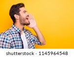 attention  close up portrait of ... | Shutterstock . vector #1145964548