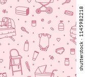 seamless pattern with newborn... | Shutterstock .eps vector #1145982218