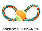 Stock photo dog toy colorful cotton rope for games isolated on white background with copy space 1145987378