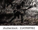post apocalyptic world survivor ... | Shutterstock . vector #1145989982