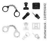 handcuffs  policeman  prisoner  ... | Shutterstock .eps vector #1145993642