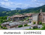 the village of stenico on... | Shutterstock . vector #1145994332