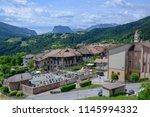 the village of stenico on... | Shutterstock . vector #1145994332
