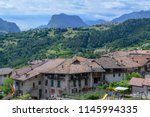 the village of stenico on... | Shutterstock . vector #1145994335