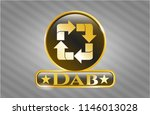 gold emblem or badge with... | Shutterstock .eps vector #1146013028