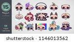 colorful skull set. print on t... | Shutterstock .eps vector #1146013562
