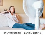 young woman drinking water and... | Shutterstock . vector #1146018548