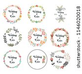 floral round frame for wedding... | Shutterstock .eps vector #1146020018