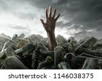 person sinks in plastic trash | Shutterstock . vector #1146038375