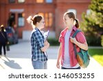 young happy students with books ... | Shutterstock . vector #1146053255