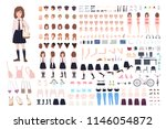 school girl constructor or diy... | Shutterstock .eps vector #1146054872