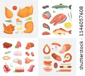 different kind of meat food... | Shutterstock .eps vector #1146057608