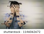 portrait of a one sad man... | Shutterstock . vector #1146062672