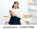 ready for lesson. girl child... | Shutterstock . vector #1146070988