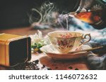 still life image of cup of tea...   Shutterstock . vector #1146072632
