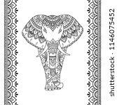 set of mehndi african elephant... | Shutterstock .eps vector #1146075452