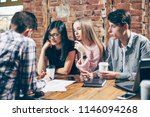 group of young people sitting... | Shutterstock . vector #1146094268