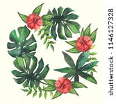 watercolor wreath of tropical...   Shutterstock . vector #1146127328