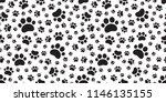 dog paw seamless pattern vector ... | Shutterstock .eps vector #1146135155