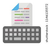 a keyboard with a printed page... | Shutterstock .eps vector #1146135572