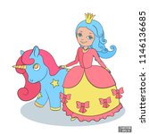 cartoon character princess with ... | Shutterstock .eps vector #1146136685